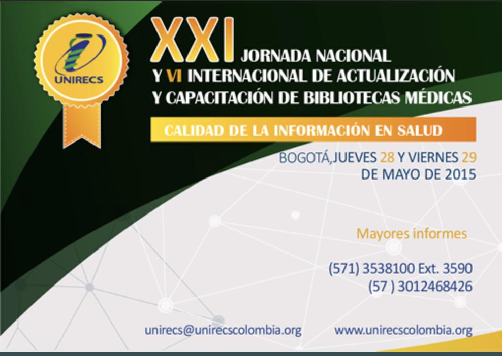 Ver XXI Jornada nacional y VII internacional de bibliotecas médicas